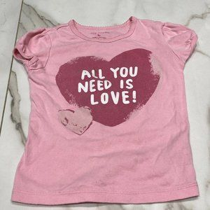 Joe Fresh Pink T-Shirt with Heart Graphic Size 5T